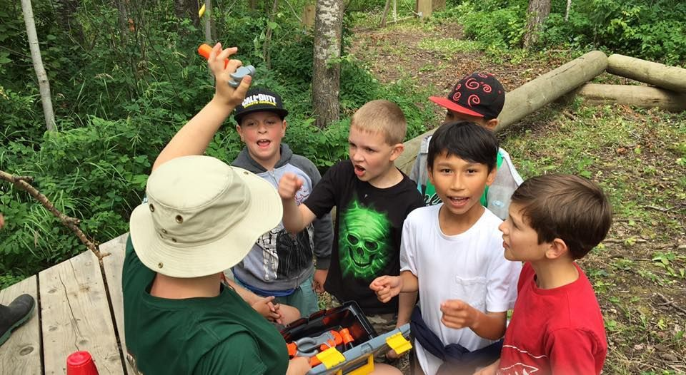 Team building is part of the Camp Woods outdoor summer camp experience.